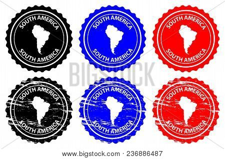 South America - Rubber Stamp - Vector, South America Continent Map Pattern - Sticker - Black, Blue A