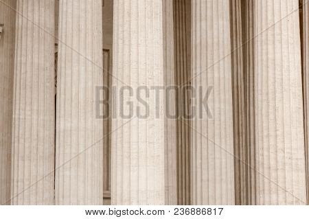 Architectural View Of The Colonnade Of The Kazan Cathedral. Saint Petersburg, Russia