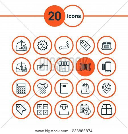 E-commerce Icons Set With Badge, Calculate, Notepad And Other Mobile Service Elements. Isolated Vect