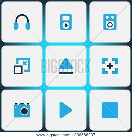 Media Icons Colored Set With Headphone, Minimize, Stop And Other Begin Elements. Isolated Vector Ill