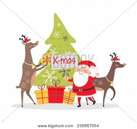 Christmas Decor And Presents With Santa Claus. Deers Helpers Decorate Fir Tree. Making Presents For