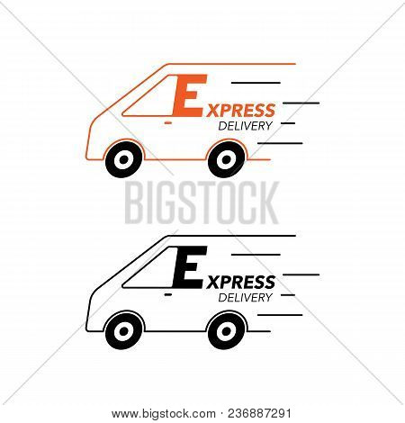 Express Delivery Icon Concept. Van Service, Order, Worldwide, Fast And Free Shipping.