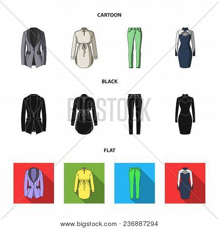 Women Clothing Cartoon, Black, Flat Icons In Set Collection For Design.clothing Varieties And Access