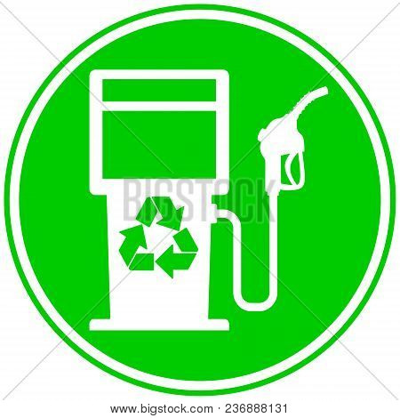 Eco Fuel Pump Icon - A Vector Cartoon Illustration Of A Bio Fuel Gas Pump Concept.