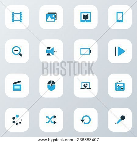 Multimedia Icons Colored Set With Satellite, Energy, Video And Other Infographic Elements. Isolated