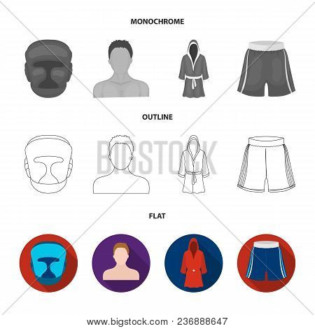 Boxing, Sport, Round, Hand .boxing Set Collection Icons In Flat, Outline, Monochrome Style Vector Sy