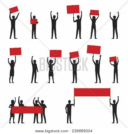 Cartoon Adult People Silhouettes With Red Streamers Arrange Protests Isolated Vector Illustrations O