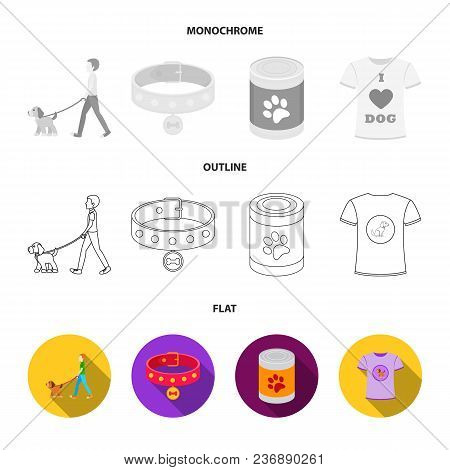 Dog House, Protective Collar, Dog Muzzle, Cup. Dog Set Collection Icons In Flat, Outline, Monochrome