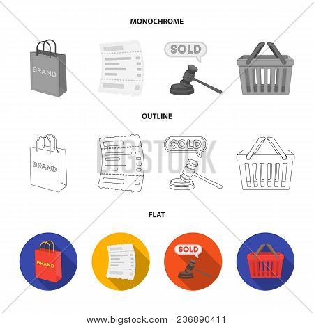 Hand, Mobile Phone, Online Store And Other Equipment. E Commerce Set Collection Icons In Flat, Outli