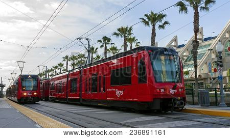 San Diego,ca, America - April23,2014:the San Diego Trolley Is A Light Rail System Operating In The M