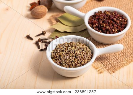 Exotic Spices Concept Chinese Asian Spices Mix Cumin Seeds, Sichuan Peppercorns, Star Anise Pods, Ba