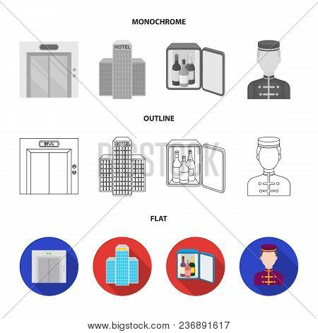 Trolley With Luggage, Safe, Swimming Pool, Clutch.hotel Set Collection Icons In Flat, Outline, Monoc