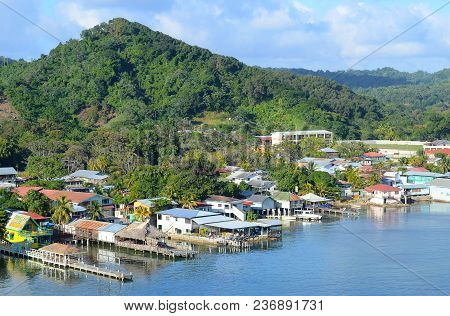 Coxen Hole, Roatan, Honduras - Dec 26 2012: Cruise Ship Dock And Town Center. The Port Town Is The L