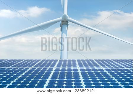 Photovoltaic Solar Cell, Solar Panal With Wind Turbines Generating Electricity,renewable Energy Sour
