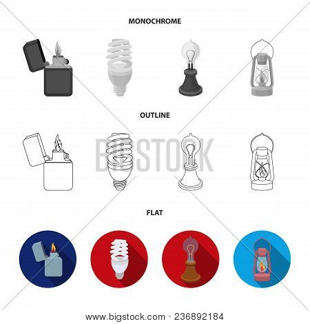 Searchlight, Kerosene Lamp, Candle, Flashlight.light Source Set Collection Icons In Flat, Outline, M