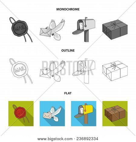 Mailbox, Congratulatory Card, Postage Stamp, Envelope.mail And Postman Set Collection Icons In Flat,