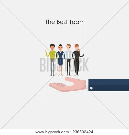 Businesspeople Sign & Boss Hands Icons On Background.successful Business People With Many Thumbs Up.