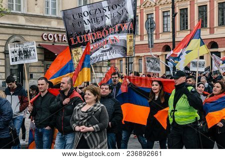 Warsaw, Poland - April 24, 2017: March Of Armenian Community Anniversary Of Armenian Genocide Of 191