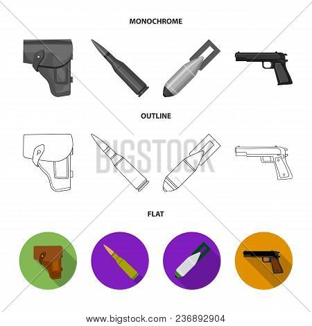 Sapper Blade, Hand Grenade, Army Flask, Soldier Boot. Military And Army Set Collection Icons In Flat