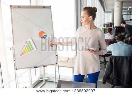 Smart And Nice Woman Is Standing Near Flipchart And Presenting Diagrams On It. She Stands Near Big A
