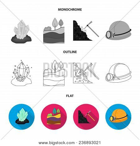 A Shovel, A Miner, An Entrance To A Mine, A Trolley With Coal.mine Set Collection Icons In Flat, Out