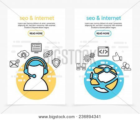 Internet Technology Vertical Banners With Operator Message Search Monitor Web Security Globe Data Ex