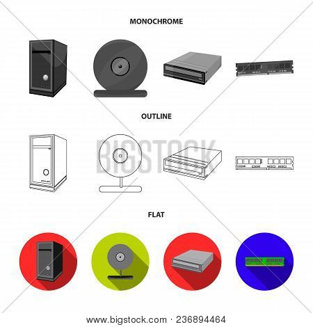 Video Card, Virus, Flash Drive, Cable. Personal Computer Set Collection Icons In Flat, Outline, Mono