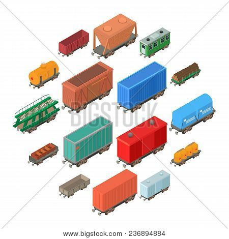 Railway Carriage Icons Set. Isometric Illustration Of 16 Railway Carriage Vector Icons For Web