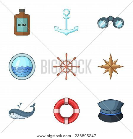 Sea Voyage Icons Set. Cartoon Set Of 9 Sea Voyage Vector Icons For Web Isolated On White Background