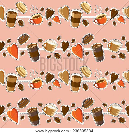 Coffee Background. Seamless Pattern. Hot Coffee. Drinks And Coffee Beans. Concept - I Like Coffee