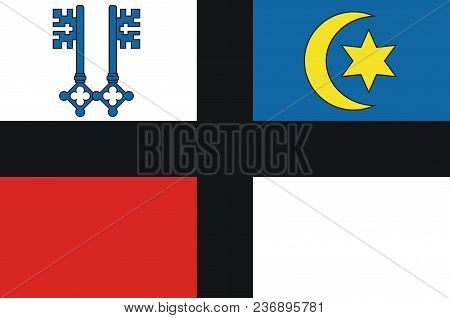 Flag Of Kempen Is A Town In The District Of Viersen, In North Rhine-westphalia, Germany. Vector Illu