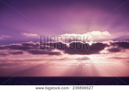 Coastal Landscape With Sun Beams In Dramatic Sky. Portugal. Porto Santo Island. Purple Tonal Filter