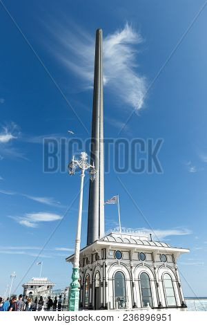 Brighton, United Kingdom - August 1, 2017: Spire And Flag And Ticket Office Building Of British Airw