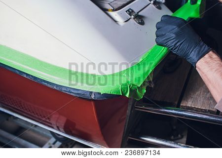 Preparation For Yacht Repair. Adhesive Tape For Non-flow. Small Yacht Angler