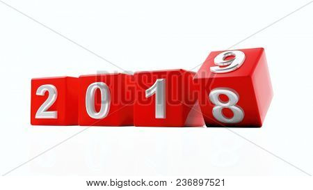 New year 2019, year change, Digits on red cubes isolated on white background. 3d illustration