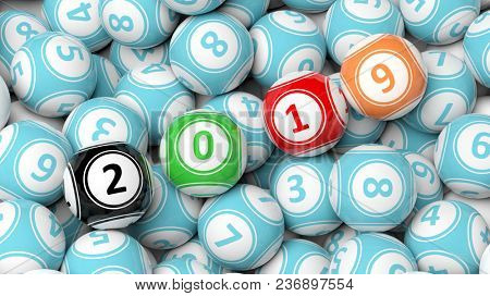 New year 2019 digits on bingo balls. Bingo lottery balls heap background. 3d illustration