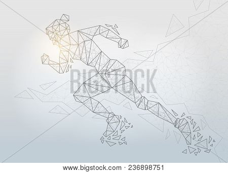 Running Girl On Gray Background, Connecting Dots And Lines. Light Connection Structure. Low Poly Bac