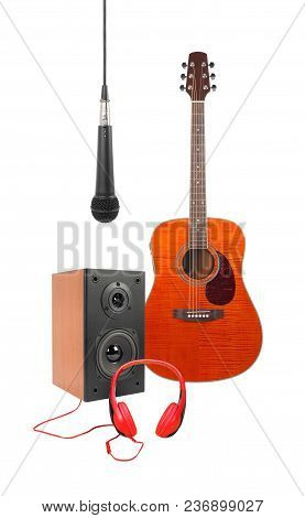 Music And Sound - Front View Orange Flame Maple Acoustic Guitar, Microphone, Line Array Loudspeaker