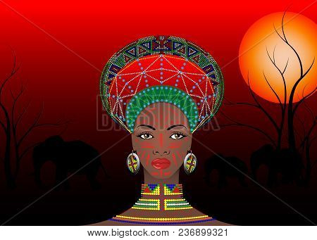 African Tribe Clothes Female Zulu, Portrait Of Cute South African Woman Of Bantu Nation. Typical Afr