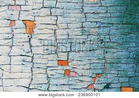 Texture Is Cracked With Paint And Wood,
