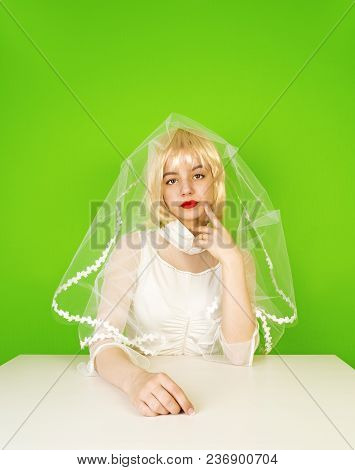 Beauty Woman With Wedding Hairstyle And Makeup. Bride Fashion. Woman In White Dress. Girl With Styli