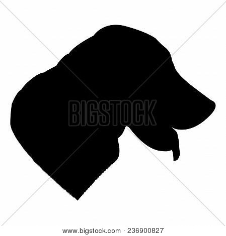 Labrador Dog Silhouette Isolated On White Background Vector Illustration.