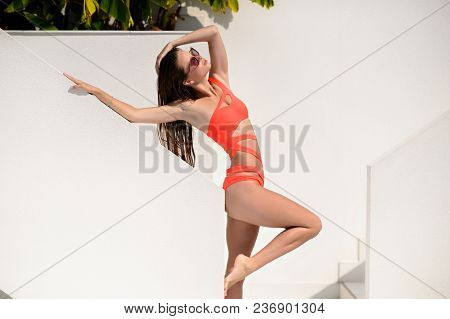 Beautiful Girl With Long Hair In Sexy Swimsuit