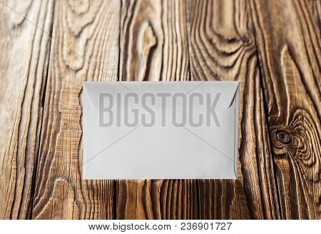 Two White Envelopes With Letters On Old Wooden Dark Background. Blanks For The Designer. Concepts, I