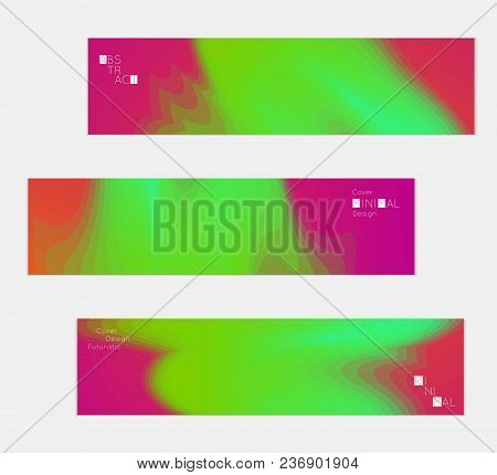 Minimal Cover Banner Template. Geometric Halftone Colorful Gradient Texture. Futuristic Abstract Mod