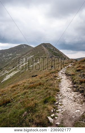 Maly Baranec And Baranec Peaks With Hiking Trail And Mountain Meadow In Western Tatras Mountains In