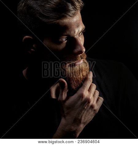 Portrait Of Young Bearded Man Isolated At Black Background Guy With Beard Thoughtful, Pensive, Charm