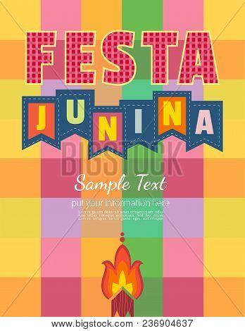 Festa Junina Latin American Holiday. Festive Party Text Flyer Template. Traditional Brazil June Folk