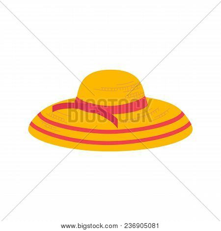 Women Summer Hat Icon. Girl Beach Sunhat Flat Cartoon. Lady Hat For Vacation. Woman Straw Cap For Tr