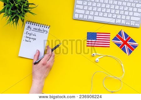 Learn New English Vocabulary. Learn Landuage Concept. Computer Keyboard, British And American Flags,